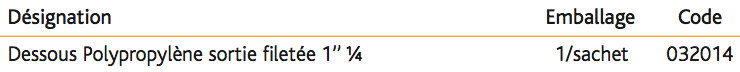 Bonde en PP à écoulement libre 1'' 1_4