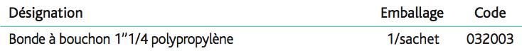 Bondes à bouchon 1''1_4 Dessous de bonde en polypropylène