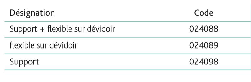 Flexible de vidange souple Ø40 RACORAPID sur dévidoir tableau