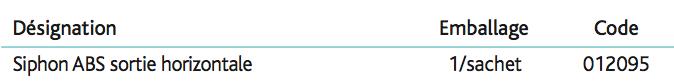 Siphon ABS à sortie horizontale