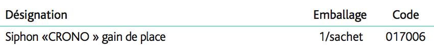 Siphons réglables CRONO Siphon réglable en hauteur « CRONO »