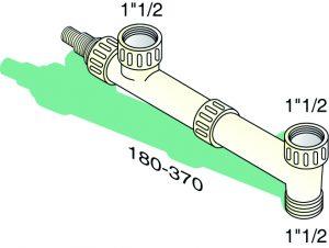 Tubulure de raccordement 2 cuves égales